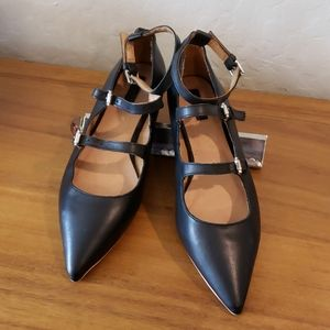 Topshop Kitsch buckle strappy pointed flats 39